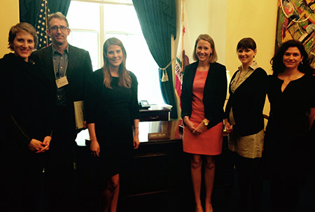 In U.S. Representative Nancy Pelosi's office (D-CA). Met with her staff to urge support for the bill. Left to right: Rosalind Helfand, Dr. Michael Rothrock, Nicole MacDougall (of Rep. Pelosis's office), Allison Parker, Amanda Allen.