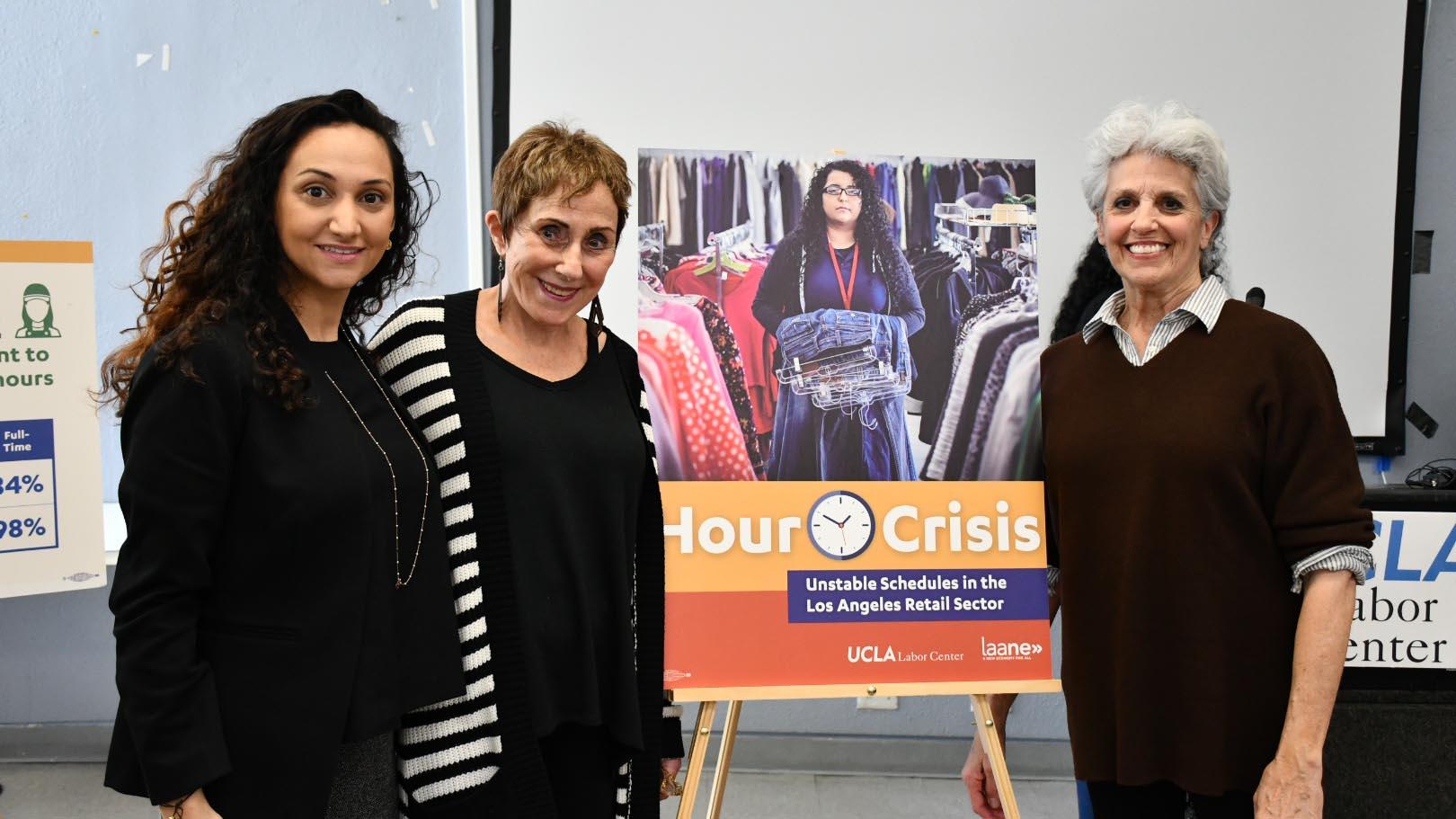 Maya Paley, Marilyn Szatmary, Susan Isaacs at Fair Scheduling press conference.
